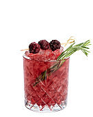 Bramble alcohol cocktail with blackberries on white background