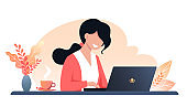 A young happy woman works on a laptop, autumn workplace interior design. Work from home, freelance. Vector flat illustration.