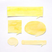 Watercolour illustration, Set of yellow speech bubbles watercolour painting on paper isolated on white background, hand drawing in watercolour style, abstract art and design background