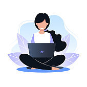Young woman sitting on the floor and working on a laptop, freelance. Vector illustration for web design