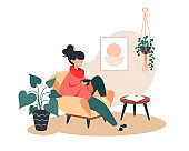 Girl drinking hot tea while sitting in armchair, stay home, cozy room interior, vector flat illustration