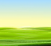 Sunrise, meadow hills. Scenery. Landscape with a clear sky without clouds. Horizon. Beautiful view. Summer. Vector