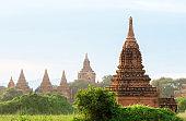 Pagoda in Bagan, Myanmar. Beautiful Morning Time with Fog
