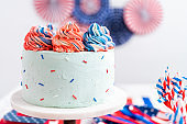 Red, white, and blue round vanilla cake with buttercream frosting