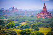 Morning View of Ancient Pagodas inside  Forest in Bagan