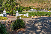Entrance of the Winery Rickety Bridge, Franschhoek with a Wine Field and the Sign of the Winery