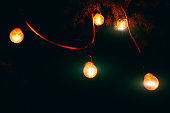 lamps garland in the night