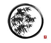 Ink wash painting of bamboo in black enso zen circle. Traditional oriental ink painting sumi-e, u-sin, go-hua. Hieroglyph - happiness.