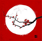 Branch of japanese sakura cherry in blossom and white circle on red background. Traditional oriental ink painting sumi-e, u-sin, go-hua. Hieroglyph - well-being