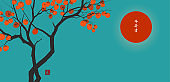 Persimmon tree with big orange fruits on blue background. Translation of Hieroglyphs - peace, tranquility, clarity, life energy. Vector illustration in japanese style.