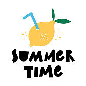 Summer Tim Hand drawn lettering phrase with lemon. Season vocation, holiday logo. Cartoon style. Vector illustration Isolated on white background.