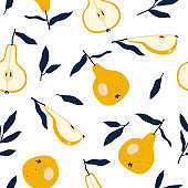 Seamless pattern with yellow pear. Illustration for invitations, wedding, paper, textile manufacturing, wallpaper etc.