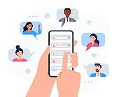 Hands holding a phone with contacts of friends. Refer a friend concept.