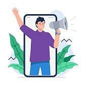 A man shouting megaphone. Refer a friend concept.
