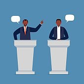 African-American men taking part in debates.