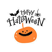 Happy halloween lettering. Halloween emblem with horror pumpkin, bat and spider