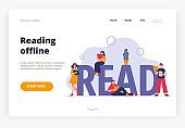 Landing page template of the Offline Reading theme.