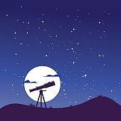 telescope night sky vector illustration design