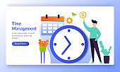 Time Management concept planning, Alarm clock rings on, working time schedule, landing page template for banner, flyer, ui, web, mobile app, poster