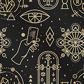 Gold esoteric seamless pattern, background. Vector. Thin line geometric pattern. Outline texture for alchemy , sacred geometry. Mystic and magic design with philosopher stone, hand, old sword