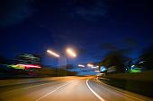 Empty road at night in Miami Florida