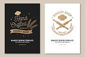 Set of Bakery shop badge. Vector. Concept for poster, flyer, bakery template. Design with chef hat , rolling pin, dough, wheat ears silhouette. For frames, packaging