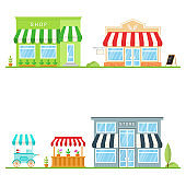Set of store, shop, street store cart and truck icons. Vector. For web design and application interface, also useful for infographics. Modern minimalist design with facade store building