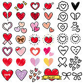 Pen hand-drawn style heart icon set (red, pink, purple)