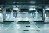 Horizontal image of empty underground parking lot