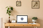 Stylish and creative wooden desk with laptop mock up screen, avocado plant office accessories, plant and gold clock. Beige background wall. Design home office interior. Template.