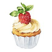 Hand drawn watercolor strawberry cupcake isolated on white background. Delicious food illustration.