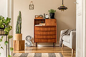 Stylish and vintage interior design of open space with wooden retro cabinet, design sofa, pendant lamp, neon letter cacti, plants and elegant personal accessories. Template. Modern vintage home decor.