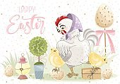 Happy Easter greeting card with flowers, eggs, rabbit, chicken, elements composition.  Printing on fabric, paper, cards, invitations.