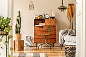 Stylish and vintage interior design of open space with wooden retro cabinet, design chair, sofa, paddle, ship, cacti, plants and elegant personal accessories. Template. Modern vintage home decor.
