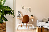 Interior design of scandinavian open space with mock up photo frames, wooden desk, gray sofa, plants, books office and personal accessories. Stylish neutral home staging. Beige walls. Template.