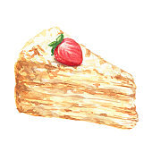 Hand drawn watercolor delicious crepes cake, french pastry, food illustration isolated on white background.