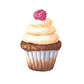 Watercolor chocolate cupcake with raspberry, hand drawn delicious food illustration, isolated on white background.