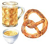 Hand drawn watercolor pretzel with beer isolated on white background. German specialty, Oktoberfest food illustration.