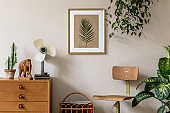 Retro interior design of living room with design vintage chair and commode, plants, cacti, personal accessories and gold mock up poster frame on the beige wall. Stylish home decor. Template.