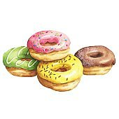 Hand drawn watercolor donuts pile isolated on white background. Delicious food illustration.