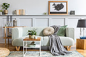 Stylish interior design of living room with modern mint sofa, wooden console, cube, coffee table, lamp, plant, mock up poster frame, pillows, plaid, decoration and elegant accessories in home decor.