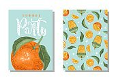 "A set of postcards. Fresh orange, tropical leaves, flowers and slices. Hand calligraphy of ""Summer Party"". Label, banner advertising element. Vector illustration. Printing on fabric, paper, postcards, invitations."