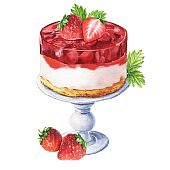 Hand drawn strawberry cake with berries isolated on white background. Delicious dessert illustration.