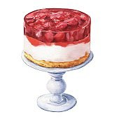 Watercolor strawberry cake isolated on white background. Hand drawn delicious food illustration.