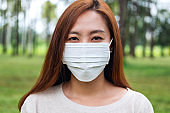 an asian woman wearing protective face mask for Healthcare concept