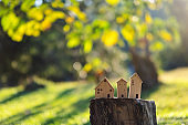 Wooden house models on tree stump