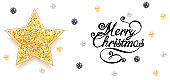 Christmas Greeting Card with Gold Star and Sequins