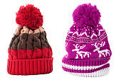 Two winter knit ski hat isolated white