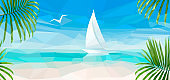 Banner of the Blue Sea with a White Sailboat
