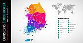 Vector map of South Korea regions beautiful colours